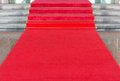 Red carpet on walkway to upstair Royalty Free Stock Photo