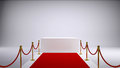 The red carpet and white box gray background d rendering Stock Photos