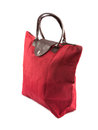 Red carry on bag travel white background Stock Photos