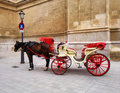 Red cart with horse in spain mallorca brown Royalty Free Stock Images