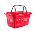 Red cart plastic basket for shopping isolated over white background Royalty Free Stock Images