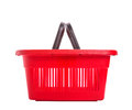 Red cart plastic basket for shopping isolated over white background Stock Image