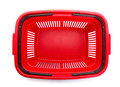 Red cart plastic basket for shopping isolated over white background Stock Images