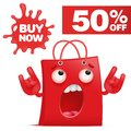 Red cartoon bag character buy now sale icon Royalty Free Stock Photo