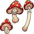 Red cartoon mushrooms