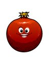 Red cartoon pomegranate cute fruit with a happy grin isolated on white vector illustration Stock Photos