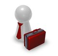 Red case play figure with tie and d illustration Royalty Free Stock Image