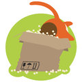 Red cat in box flat style cartoon big paper eps Royalty Free Stock Images