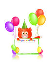 Red cat with greeting card and balloons Stock Photo