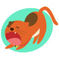 Red cat yawning flat style cartoon eps Royalty Free Stock Photos