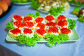 Red caviar delicious sandwich with on a plate Stock Images