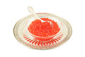 Red caviar dish with isolated with silver spoon and tray Stock Photo