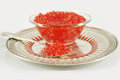 Red caviar dish with isolated with silver spoon and tray Royalty Free Stock Photo