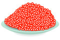Red caviar on a plate Royalty Free Stock Image