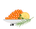 Red caviar in a plate with lemon and green icons. Flat style, isolated on white background. Vector illustration, clip