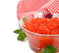 Red caviar on a white background Royalty Free Stock Images