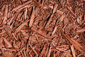Red cedar mulch a detailed close up of coloured a great texture image for a background or overlay Stock Images