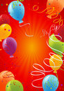 Red_celebration_background_with_balloons Stock Photos
