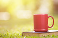 Red ceramic coffee cup and old book in green garden at morning t Royalty Free Stock Photo