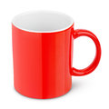 Red ceramic mug isolated on white with clipping path Stock Photography