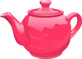Red ceramics  teapot. Royalty Free Stock Photo