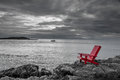 Red chair black and white nature background Royalty Free Stock Photo