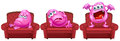 Red chairs with pink monsters illustration of the on a white background Stock Images