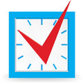 Red check mark on clock. Royalty Free Stock Photos