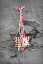 Red checkered christmas decoration with a star-shabby style Royalty Free Stock Photo