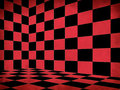 Red Checkered Old Room Stock Image