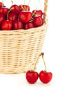 Red cherries in a basket delicious fresh and juicy Royalty Free Stock Photography