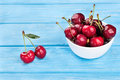 Red cherries in bowl Royalty Free Stock Photo