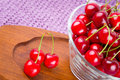 Red cherries in the bowl sweet Stock Image