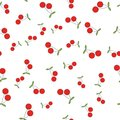 Red Cherries Flat Vector Seamless Pattern on White Royalty Free Stock Photo