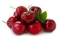 Red Cherries isolated on white. Royalty Free Stock Photo