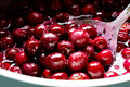 Red cherries in sugar syrup. Royalty Free Stock Photo