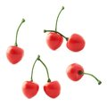Red cherry artificial plastic berries isolated over the white background set of multiple foreshortenings Royalty Free Stock Images