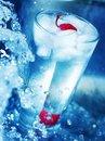 Red cherry in glass of cool water 2 Royalty Free Stock Image