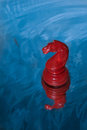 Red chess knight floating on water Royalty Free Stock Image