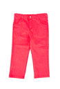 Red child pants close up front view of chino isolated on white background Stock Photography