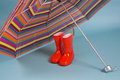 Red children rainboots and a colorful umbrella Stock Images