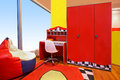 Red children room modern interior with furniture Stock Image