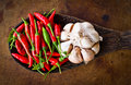 Red chili and garlic on wood ladle Stock Images