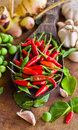 Red chili and many spices on wood table in thai kitchen Royalty Free Stock Images