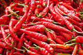 Red chili pepper at farmers market Stock Photos