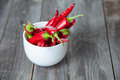 Red Chili Pepper On Plate On G...