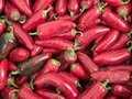Red chili peppers at the farmer s market Stock Photo