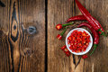 Red Chilis in a bowl (cutted) Royalty Free Stock Photo