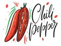 Red chilli pepper poster. Whole and half. Hand drawn vector illustration in cartoon style Royalty Free Stock Photo