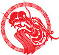 Red chinese dragon head art illustration Stock Photography